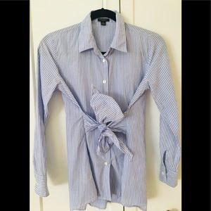 Ann Taylor Petite Blue Striped Button Up with Bow